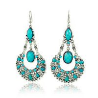Vintage Jewellery Victorian Style Turquoise Drop Earrings Teardrop Shape E93