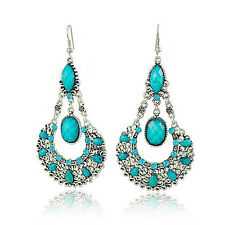 Drop Earrings Teardrop Shape E93 Vintage Jewellery Victorian Style Turquoise
