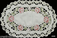 """Spring Embroidered Rose Daisy Floral Cutwork Placemat 11x17"""" Beige #3685"""