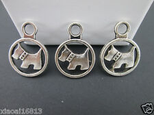 15PCS Antique Silver Lovely Dog Round Charms Beads For Bracelet Necklace Pendant