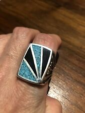 Vintage Southwestern American Turquoise Inlay Men's Ring Size 13