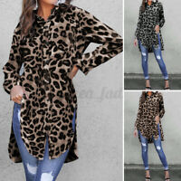 UK Womens Leopard Print Tunic Blouse Ladies Long Sleeve Buttons Loose Tops Shirt