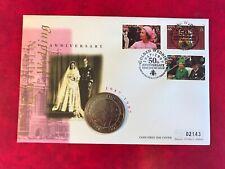 TURKS & CAICOS 1997 FDC MERCURY COIN 5 CROWNS QUEEN ELIZABETH 2 GOLDEN WEDDING