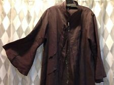 Brown Linen intricate embroidery Duster Coat Made in Japan Moyuru Int. Co. NWT