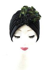 NOIR VERT PLUME turban coiffe les années 1940 Vintage Cloche 1920 Charleston 30