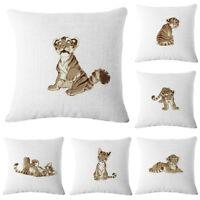 Cartoon Animal Cotton Linen Pillow Case Sofa Throw Cushion Cover Home Decor