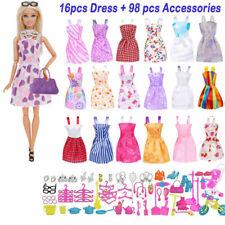 114 Stk Artikel für Barbie-Puppen Kleider Schuhe Schmuck Kleidung Set Zubehör