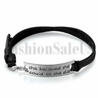 "Womens ""She Believed She Could So She Did"" Inspirational Leather Bangle Bracelet"