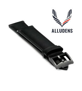 Black Handmade 20mm rolled edge Genuine Leather mens watch strap Graphite Buckle