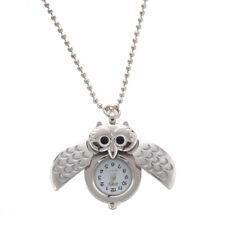 5X(quartz watch necklace pendant silver plated owl V3M9