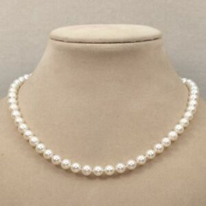"""AAA 8-9mm White pink black purple cultured freshwater Pearl Round Necklace 18"""""""