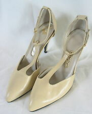 VINTAGE All Leather Off White Beige T Strap Ankle Buckle High Heel Shoes 10 B