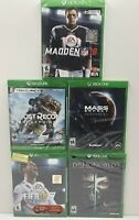 5 New Sealed Xbox One Game Lot -Ghost Recon-Dishonored 2-Mass Effect-Fifa-Madden