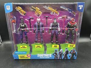 """Fortnite Squad Mode """"Dark Legends"""" Action Figure 4-Pack W/ Raptor Glow"""