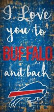 """Buffalo Bills I love you to and Back Wood Sign - NEW 6"""" x 12"""" Wall Decoration"""