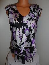 Signature by Larry Levine Petite size PL purple black ruffle satin career shirt