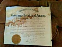 VINTAGE 1918 SIGNED BY THE FIRST GOVERNOR OF ARIZONA CERTIFICATE