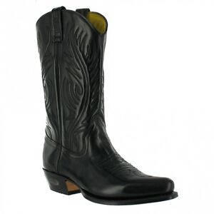 Loblan 194 Bottes Western Noir Brillant Cuir Cowboy Bottes Classique Motard