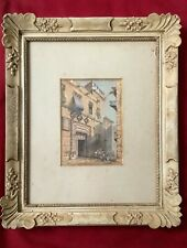 More details for antique vintage italian wood gesso frame -architectural continental watercolour
