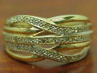 14kt 585 GELB GOLD RING MIT 0,20ct DIAMANT BESATZ / 5,1g / RG 59