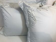 "Charisma Set Of 2 20"" x 20"" Square Gray Decorative Embroidered Feather Pillow"