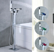 LED Waterfall Free Standing Bathtub Faucet Floor Mounted Tub Filler Hand Shower