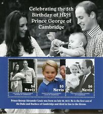 Nevis 2018 MNH Prince George 5th Birthday William & Kate 3v M/S Royalty Stamps