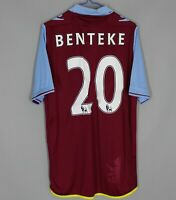 ASTON VILLA 2012 2013 HOME FOOTBALL SHIRT JERSEY MACRON #20 BENTEKE