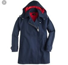 EUC J Crew Size Small S 4/6 Navy Hooded Coat Navy Blue Red Swing Parka Rain Coat
