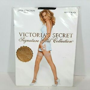 Victoria's Secret Signature Gold Collection Sheer Seduction Stay Ups Black Small