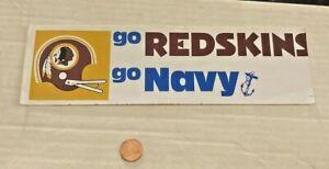 Vintage Go Redskins & Go Navy Bumper Sticker Very Rare Micut