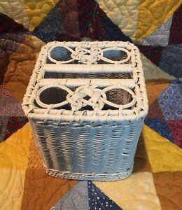 Vintage Woven Wicker Rattan Cube Kleenex Tissue Box Cover Holder WHITE