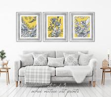 Set of 3 Yellow Ochre Mustard Nature Wall Art Prints. Yellow Wall Art Prints