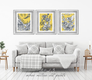 Set of 3 Yellow Ochre Mustard Nature Wall Art Prints. Yellow Wall Art Prints