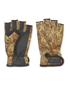 NEW Crane One Fold Camo Print Fingerless Fishing Gloves - S/M