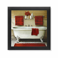 Red Bain III Claw Foot Tub Bathroom Black Framed Art 12x12