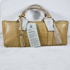 Joy Mangano Designer Drop Bag PURSE GOLD FAUX ALLIGATOR and Mini Purse NEW TAGS