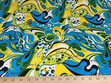 "Blue/Yellow Wavy Print Gold Sequins 2 Way Stretch Poly Lycra  Fabric 58"" W BTY"