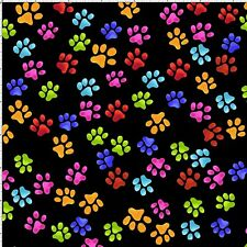Paw Beans Prints Cat Dog Kitty Pupper Black Rainbow Cotton Fabric Loralie Design