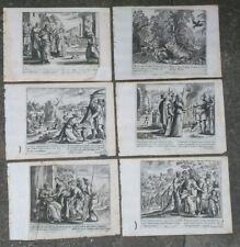 1690 GERARD JOLLAIN LOTTO 6 INCISIONI CON BELISSIME SCENE BIBLICHE E SANTI