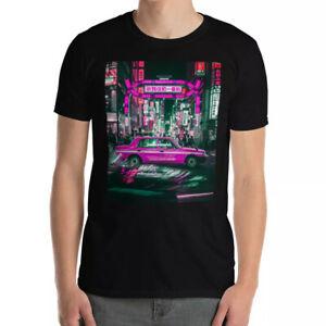 Cool T-Shirts Pink Taxi Photo Travel T-Shirt TOKYO AT NIGHT Japanese Print Gift