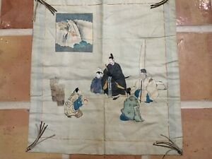 "RARE Antique Japanese  textile embroidery & painting of an offering 26x24"" Meiji"