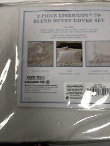 New Simply Shabby Chic. Ruffle Edge. White. Linen Blend Twin Duvet Set