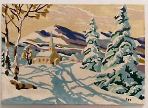 "Vintage Paint By Number ""Winter Scene"" Chapel Church In Snow 10x14 Midcentury"