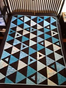 """Black & Turquoise Triangle Handmade Quilt (finished)(throw size - 52"""" x 69"""")"""