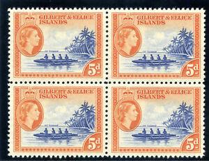 Gilbert & Ellice Is 1962 QEII 5d ultramarine & brown orange block MNH. SG 69a.