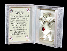 Wife Valentine Gift Present for her Glass Red Heart Teddy Bear poem box #1