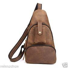 Men Genuine Leather Crossbody Bag Chest Pack Cycling Sling Backpack Shoulder Bag