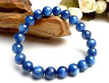 Natural Blue Kyanite Cat Eye Crystal 9mm Beads Stretch Bracelet AAA