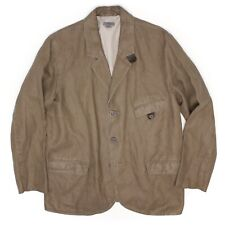 M0851 Mens Sport Coat 42S Solid Brown Cotton Linen Leather Throat Latch Jacket
